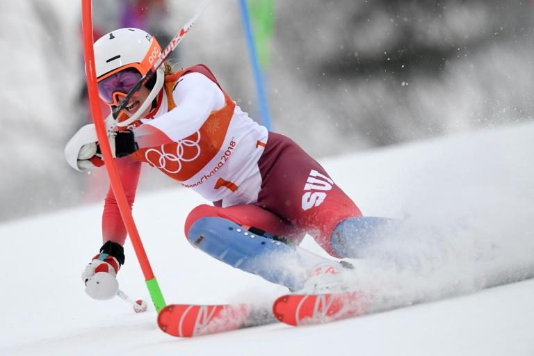 Switzerland's Michelle Gisin competes in the women's alpine combined slalom