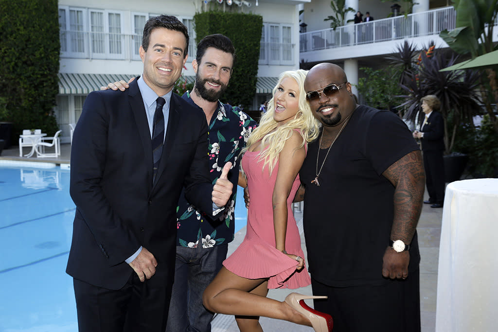 "Carson Daly, Adam Levine, Christina Aguilera, and CeeLo Green (""The Voice"") at the NBC Cocktail Reception during the 2013 Summer Television Critics Association tour."