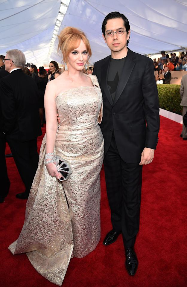 "Almost exactly a decade after they got married in October of 2019, Christina Hendricks and Geoffrey Arend announced that they were separating via <a href=""https://www.instagram.com/p/B3u8_P5lBSD/"">Instagram</a>, writing, in part: ""We will always be grateful for the love we've shared and will always work together to raise our two beautiful dogs."""