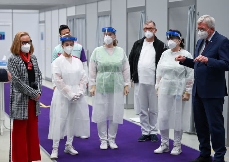 FILE PHOTO: COVID-19 vaccination centre at drugs and chemicals group Merck KGaA in Darmstadt