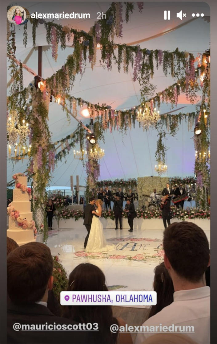 The reception was held in a beautifully decorated tent.