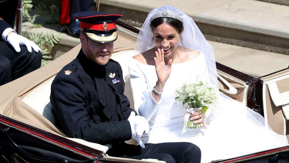 Prince Harry and Meghan Markle in the carriage procession (ABC News)