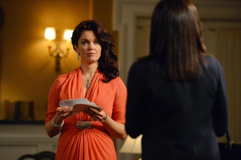 "This photo released by ABC shows, Bellamy Young, left, as Mellie Grant, and Kerry Washington, as Olivia Pope, in an episode ""We Do Not Touch the First Ladies,"" of the TV series, ""Scandal,"" Thursday, March 6, 2014, 10:00-11:00 p.m., ET on the ABC Television Network. (AP Photo/ABC, Eric McCandless)"