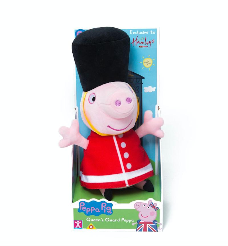 """Your child's favourite TV character is now available dressed up as a castle guard or the Queen's guard because, well, why not?<br />Price: &pound;25<br />Ages: 18 months +<br /><a href=""""http://www.hamleys.com/hamleys-exclusive-castle-guard-peppa-soft-toy.ir"""" target=""""_blank"""" rel=""""noopener noreferrer"""">Click here to buy</a>."""