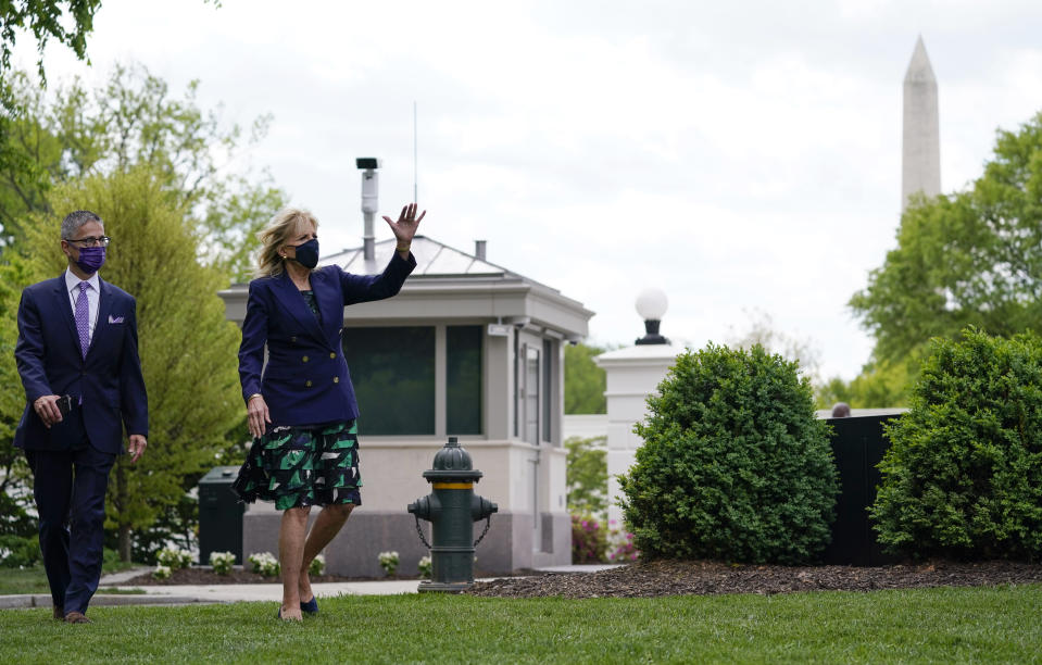 First lady Jill Biden arrives for an Arbor Day tree planting ceremony at the White House, Friday, April 30, 2021, in Washington. (AP Photo/Evan Vucci)