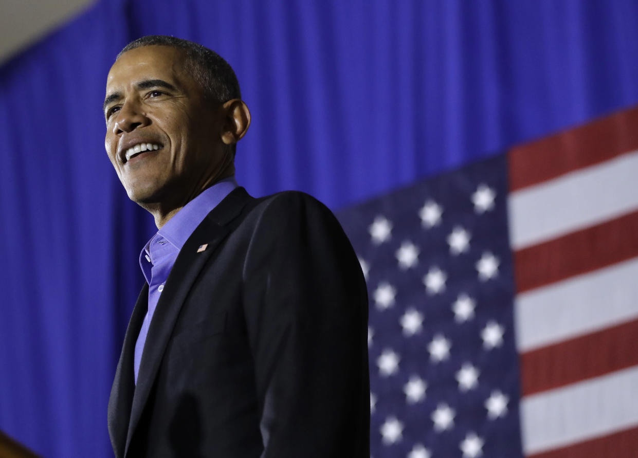 Former President Barack Obama addresses a rally for New Jersey Democratic gubernatorial nominee Phil Murphy, in Newark, in October. (Photo: Julio Cortez/AP)