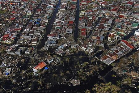 An aerial view of the devastation is seen in the aftermath of Super Typhoon Haiyan in Palo
