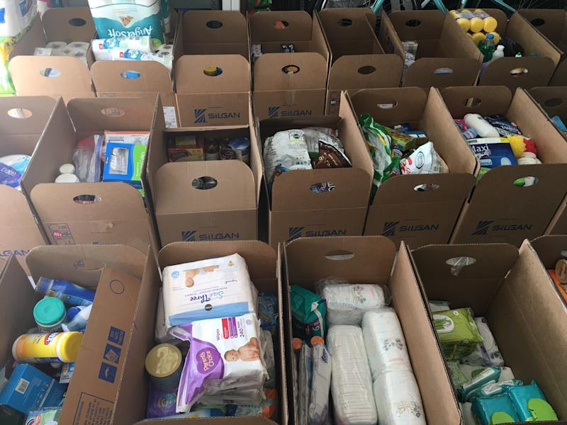 MM50 Relief Project also gathers and distributes other supplies, including paper towels, feminine hygiene products and more. (Krystal Langley)