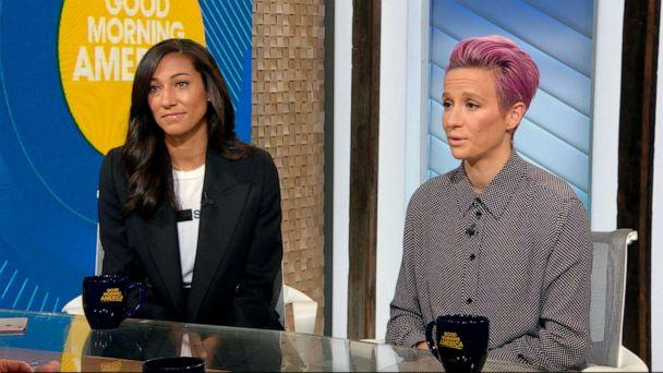 PHOTO: USWNT stars Megan Rapinoe and Christen Press speak out on 'Good Morning America' about the end of mediation in their fight for equal pay. (ABC News)