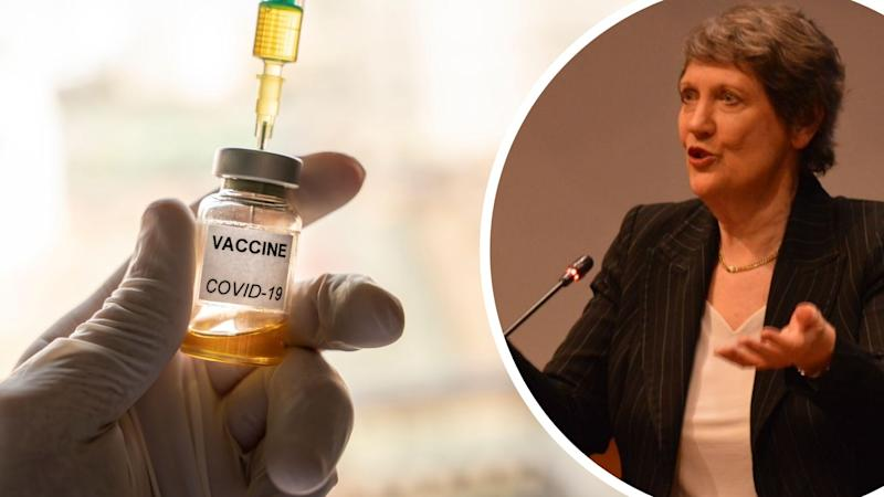 Pictured: Covid-19 vaccine bottle, Helen Clark. Images: Getty