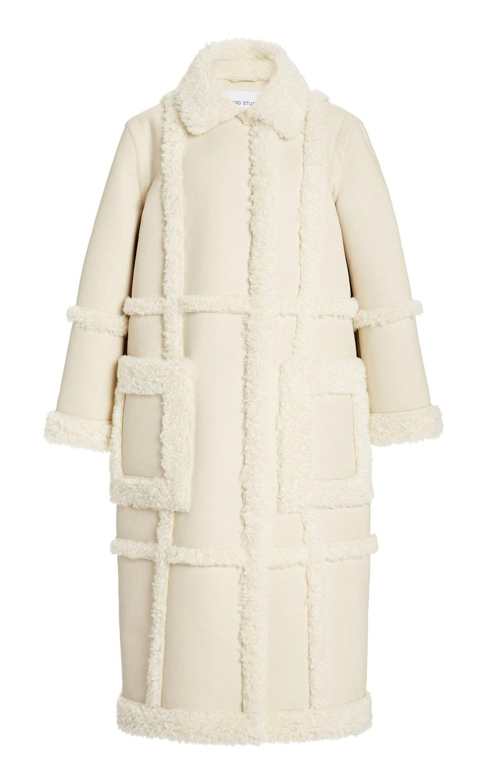 <p>This <span>Stand Studio Patrice Faux Shearling and Suede Coat</span> ($500) brings the drama.</p>