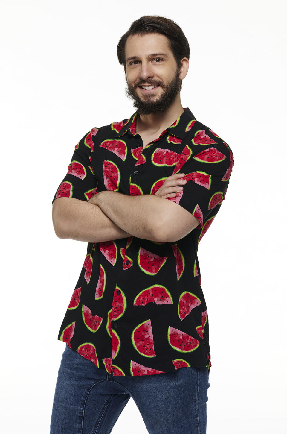 Beauty and the Geek contestant George Goldfeder wearing a shirt with a watermelon print