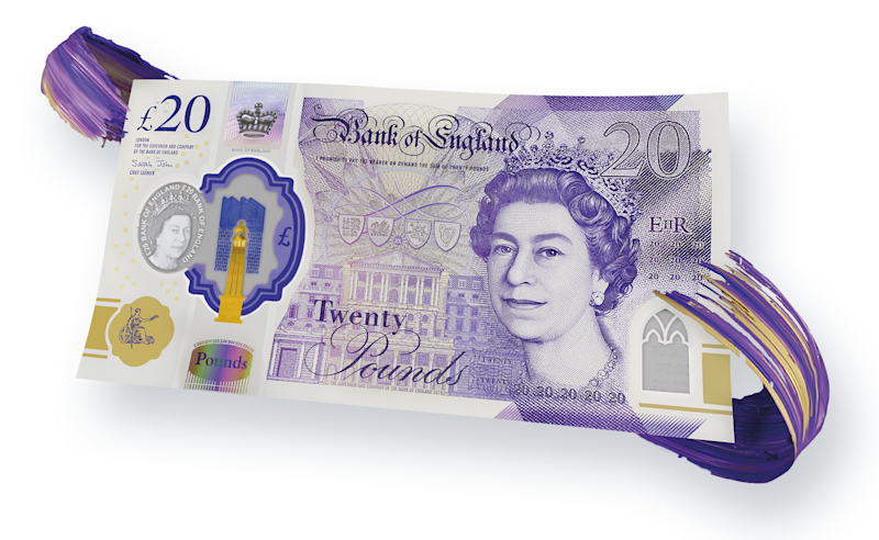 The new £20 note, featuring holograms, gold foil, and see through windows. Photo: Bank of England