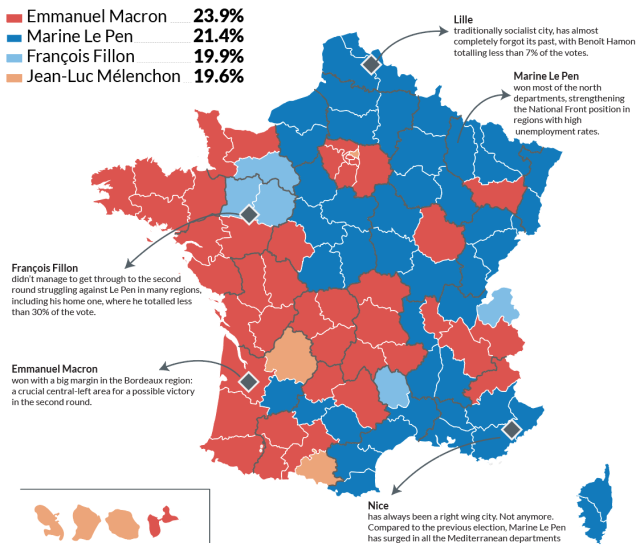 France Election: geography of the first round