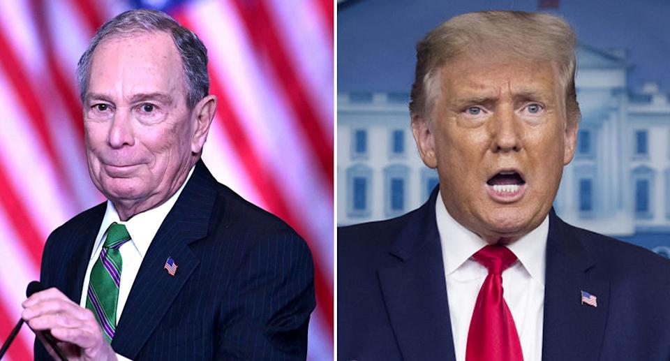 Michael Bloomberg seen (left) and president Donald Trump (right).