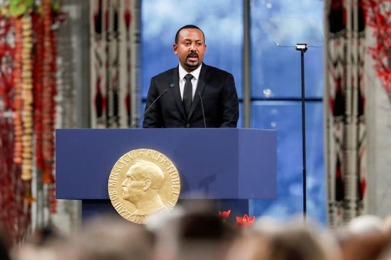 FILE PHOTO: Nobel Peace Prize Laureate Ethiopian Prime Minister Abiy Ahmed Ali delivers his speach during the awarding ceremony in Oslo City Hall