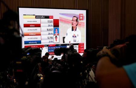 Reporters wait for the general election results in Bangkok, Thailand, March 24, 2019. REUTERS/Soe Zeya Tun