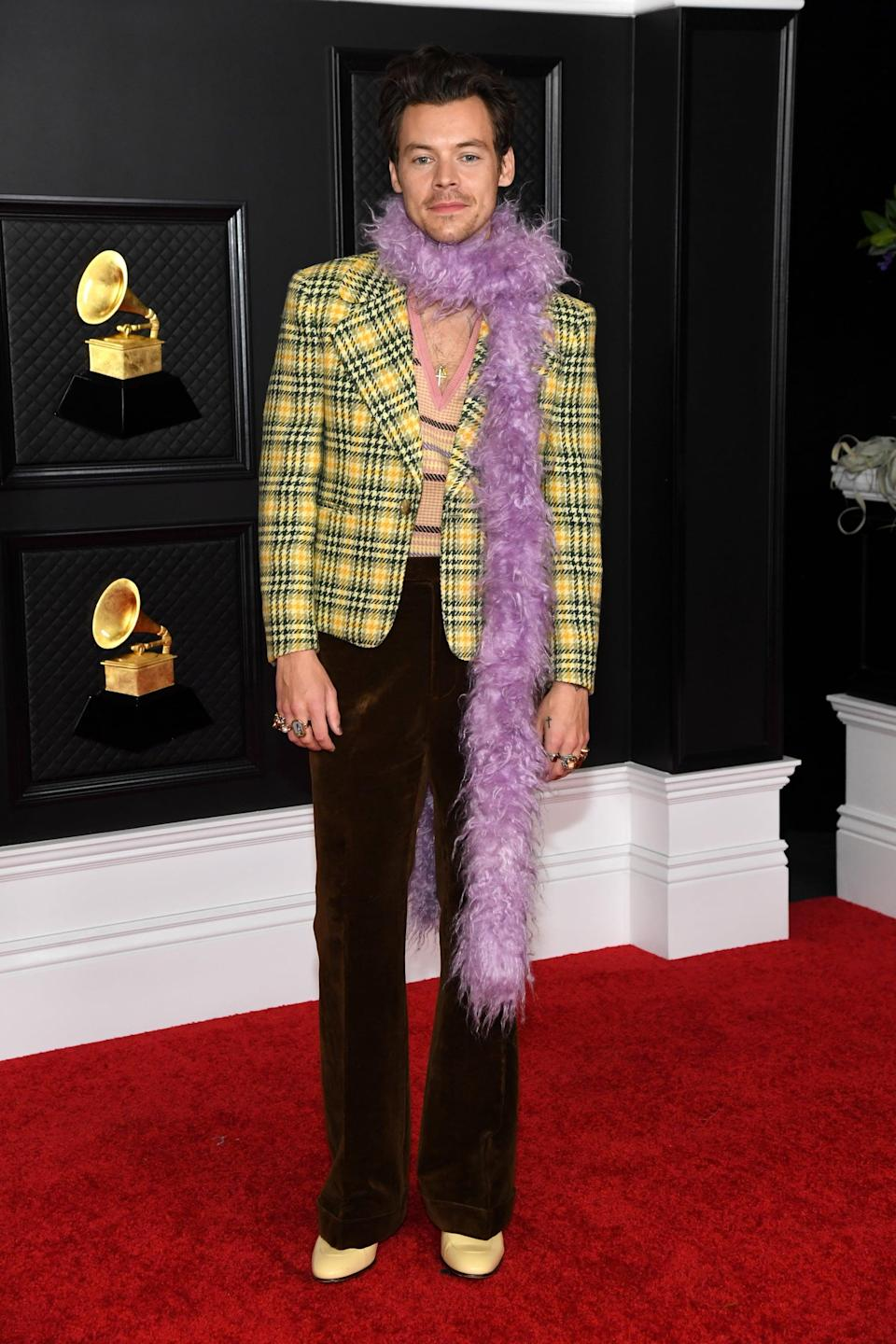 "<p>Wearing a plaid Gucci jacket with <a href=""https://www.popsugar.com/fashion/harry-styles-banana-necklace-2021-grammys-48217742"" class=""link rapid-noclick-resp"" rel=""nofollow noopener"" target=""_blank"" data-ylk=""slk:a purple boa"">a purple boa</a> and pale-yellow boots to the 2020 Grammys.</p>"