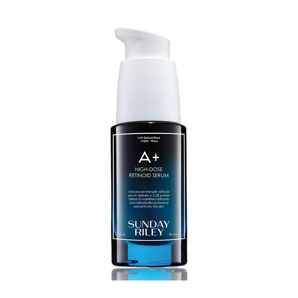 """<a href=""""https://www.allure.com/review/sunday-riley-a-plus-high-dose-retinoid-serum?mbid=synd_yahoo_rss"""" rel=""""nofollow noopener"""" target=""""_blank"""" data-ylk=""""slk:Sunday Riley's buzzy A+ High Dose Retinoid Serum"""" class=""""link rapid-noclick-resp"""">Sunday Riley's buzzy A+ High Dose Retinoid Serum</a> packs a punch when it comes to gently smoothing fine lines over time. Unlike traditional retinols, this one is suitable for even sensitive skin types, like <em>Allure</em>'s Sarah Kinonen."""