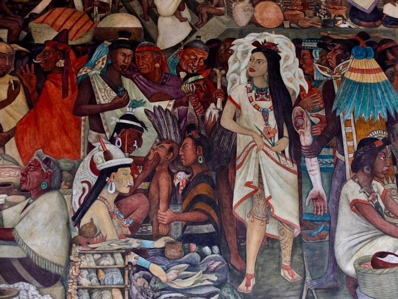 Frida appears in murals as an Aztec princess (Sarah Gilbert)