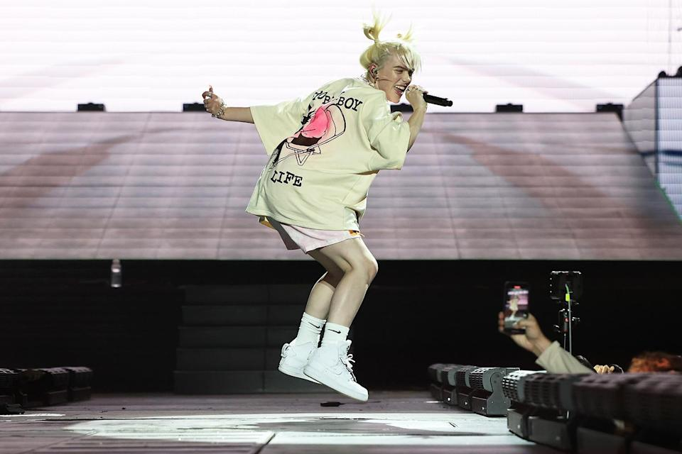 <p>Billie Eilish performs onstage during the 2021 Governors Ball Music Festival in New York City on Sept. 24.</p>