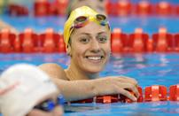 Australia's Stephanie Rice smiles after she competed in the semi-final of the women's 200-metre individual medley swimming event in the FINA World Championships at the indoor stadium of the Oriental Sports Center, in Shanghai, on July 24, 2011. (FRANCOIS XAVIER MARIT/AFP/Getty Images)