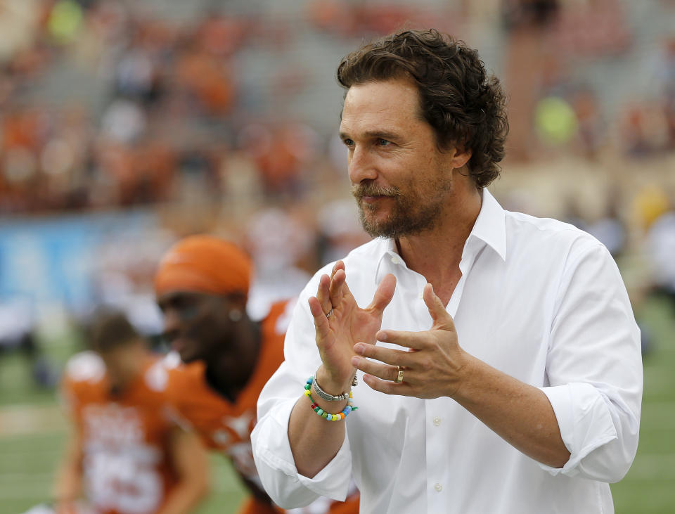 AUSTIN, TX - NOVEMBER 25: Actor Matthew McConaughey encourages the Texas Longhorns before the game against the TCU Horned Frogs at Darrell K Royal -Texas Memorial Stadium on November 25, 2016 in Austin, Texas. (Photo by Chris Covatta/Getty Images)
