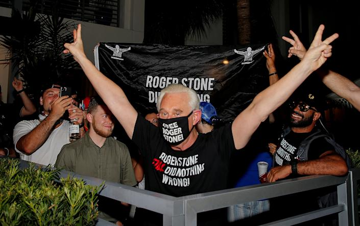Image: Roger Stone reacts after Trump commuted his federal prison sentence in Fort Lauderdale (Joe Skipper / Reuters)