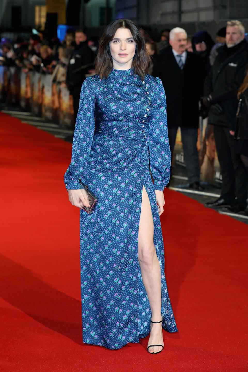 <p>The 47-year-old actress wowed in a printed blue dress with a thigh-high split. <em>[Photo: Getty]</em> </p>