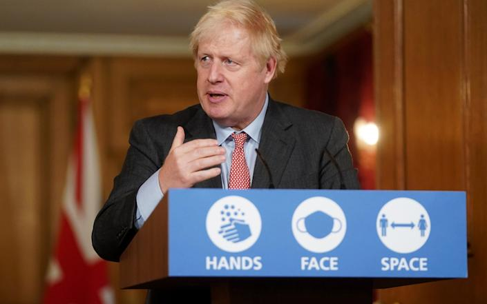 Prime Minister Boris Johnson holds a Covid-19 Press Conference with Chief Scientific Adviser, Sir Patrick Vallance and Chief Medical Officer, Professor Chris Whitty, in 10 Downing Street - Pippa Fowles/No 10 Downing Street