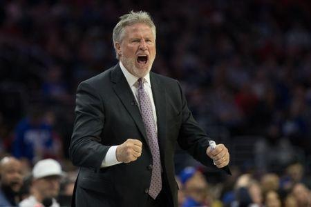 May 9, 2019; Philadelphia, PA, USA; Philadelphia 76ers head coach Brett Brown reacts during the second quarter in game six of the second round of the 2019 NBA Playoffs against the Toronto Raptors at Wells Fargo Center. Mandatory Credit: Bill Streicher-USA TODAY Sports