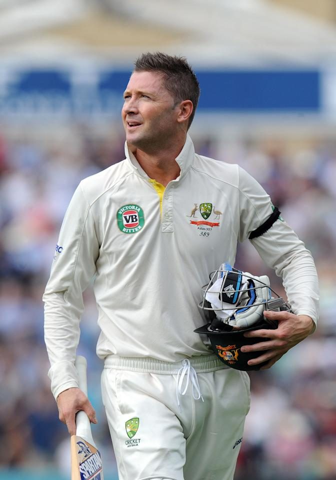 Australia's Michael Clarke leaves the field for the tea interval during day five of the Fifth Investec Ashes Test match at The Kia Oval, London.