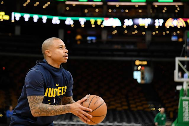 Nuggets point guard Isaiah Thomas received a warm welcome in his first game playing back in Boston. (Photo by Brian Babineau/NBAE via Getty Images)