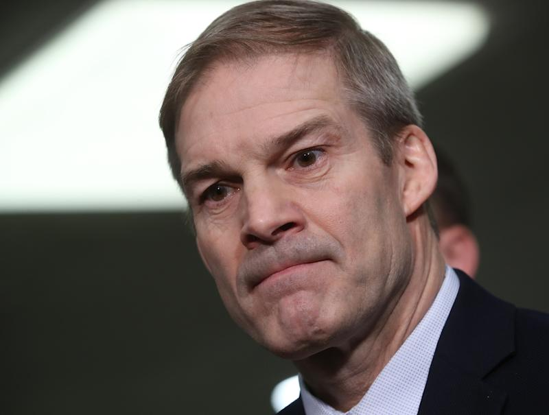 Six former OSU wrestlers say that Ohio Rep. Jim Jordan knew about the sexual abuse of male athletes and has been lying about not knowing. (Photo by Mark Wilson/Getty Images)