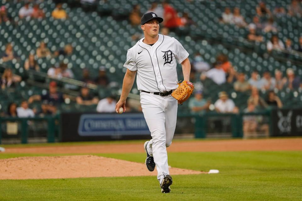 Tigers pitcher Kyle Funkhouser throws  the ball towards first base against Cleveland during the sixth inning at the Comerica Park on Tuesday, May 25, 2021.