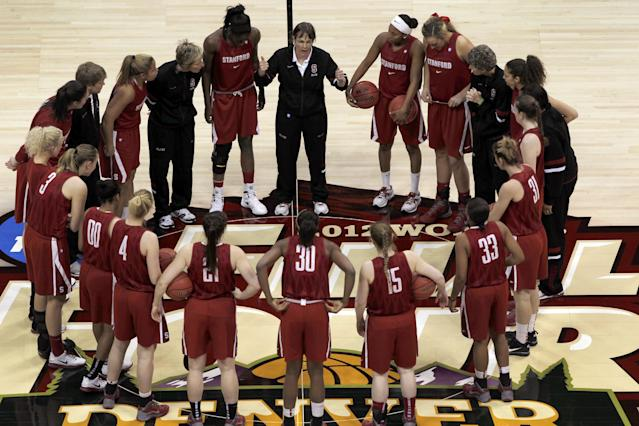 FILE - In this March 31, 2012 file photo, Stanford head coach Tara VanDerveer directs her team against Georgia in a regional semifinal in the NCAA women's college basketball tournament in Spokane, Wash. One thing on VanDerveer's mind is how much more balanced her team might be this season, taking some pressure off Chiney Ogwumike to do it all and actually give her a chance to take a breather from time to time. (AP Photo/Elaine Thompson, File)