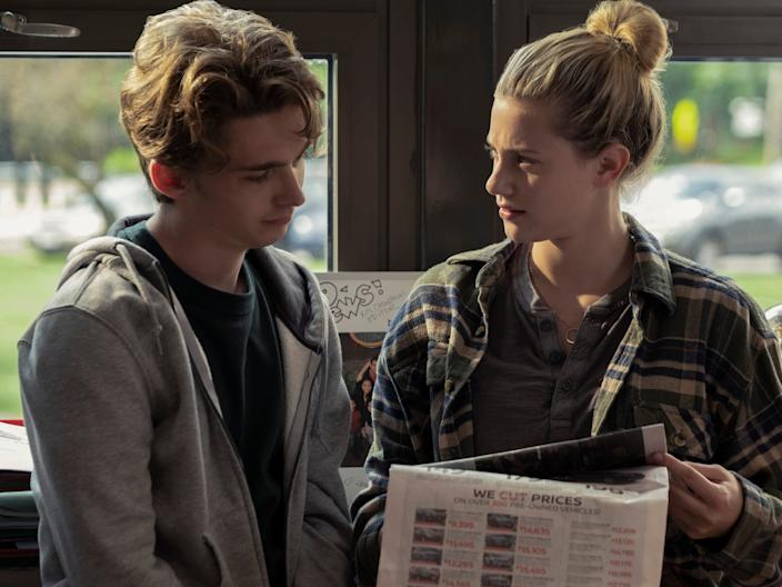 """Austin Abrams and Lili Reinhart in """"Chemical Hearts."""" <p class=""""copyright"""">Cara Howe/Amazon Studios</p>"""