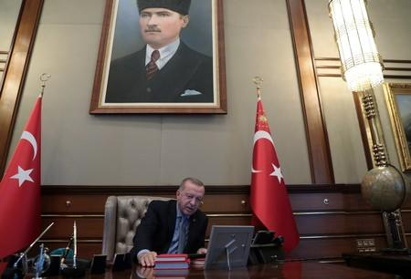 Turkish President Erdogan speaks to Defence Minister Akar on the phone in Ankara