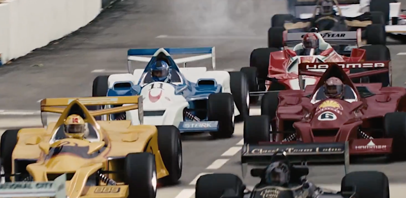 The Stark race car in action during Iron Man 2.