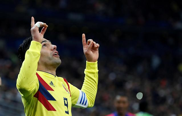 Soccer Football - International Friendly - France vs Colombia - Stade De France, Saint-Denis, France - March 23, 2018 Colombia's Radamel Falcao celebrates scoring their second goal REUTERS/Gonzalo Fuentes TPX IMAGES OF THE DAY