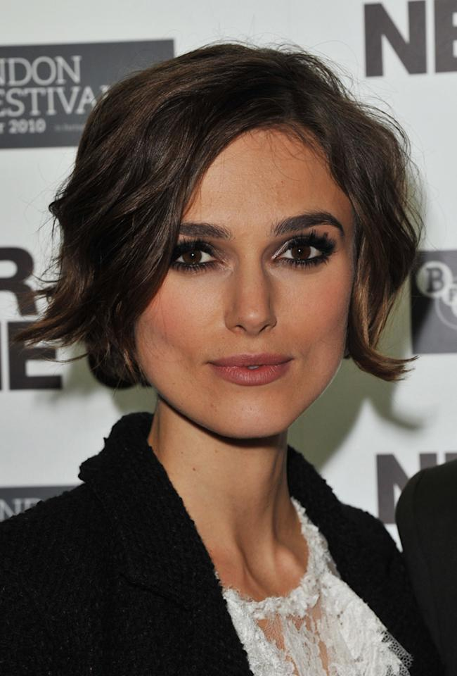 "Keira Knightley, one of the famous faces of Chanel, turned heads earlier this month when she debuted a sporty new bob at Paris Fashion Week. The chin-length layers frame the British actress' striking face, highlighting her large brown eyes and high cheekbones. Jon Furniss/<a href=""http://www.wireimage.com"" target=""new"">WireImage.com</a> - October 13, 2010"