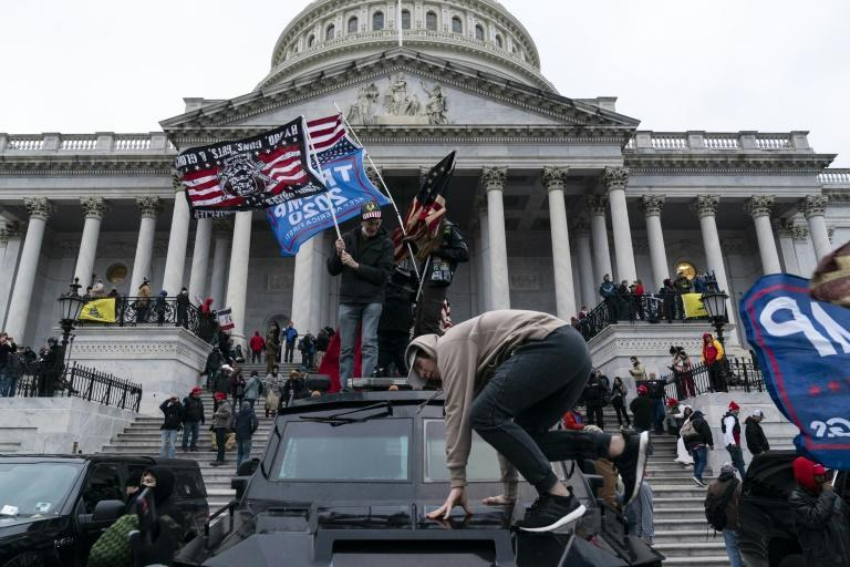 Pro-Trump supporters storming the US Capitol on January 6, 2021