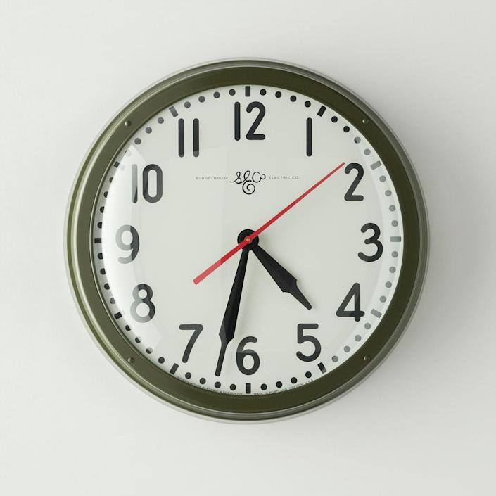 """$289, Schoolhouse. <a href=""""https://www.schoolhouse.com/collections/clocks/products/schoolhouse-electric-clock-sergeant-green"""" rel=""""nofollow noopener"""" target=""""_blank"""" data-ylk=""""slk:Get it now!"""" class=""""link rapid-noclick-resp"""">Get it now!</a>"""