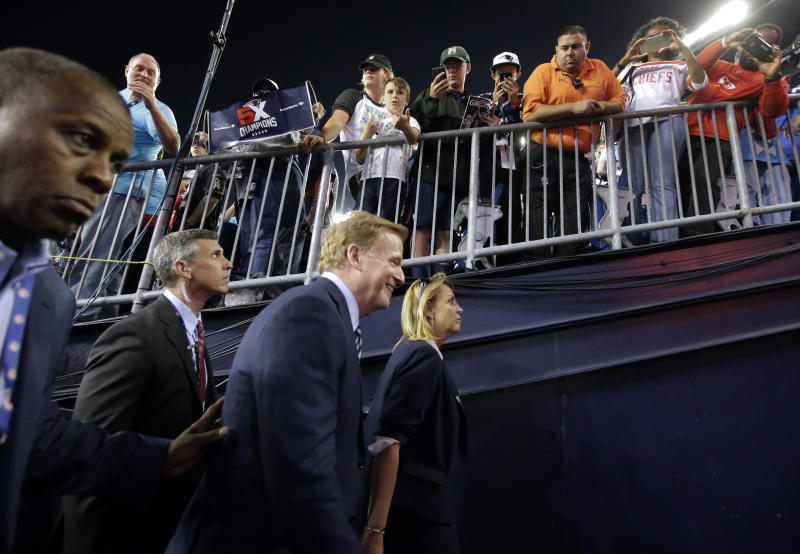 Roger Goodell made an appearance at the season opener on Thursday in New England. (AP)