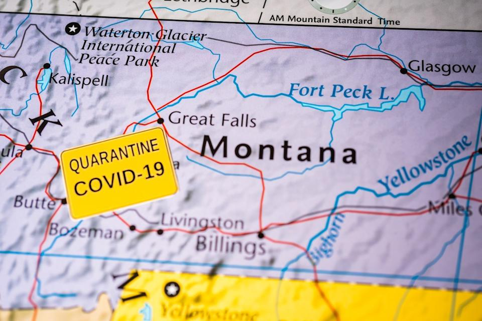 montana on map with covid indicator