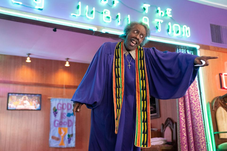 """Can he get an """"Amen""""? Arsenio Hall preaches as Rev. Brown, who returns in """"Coming 2 America."""""""