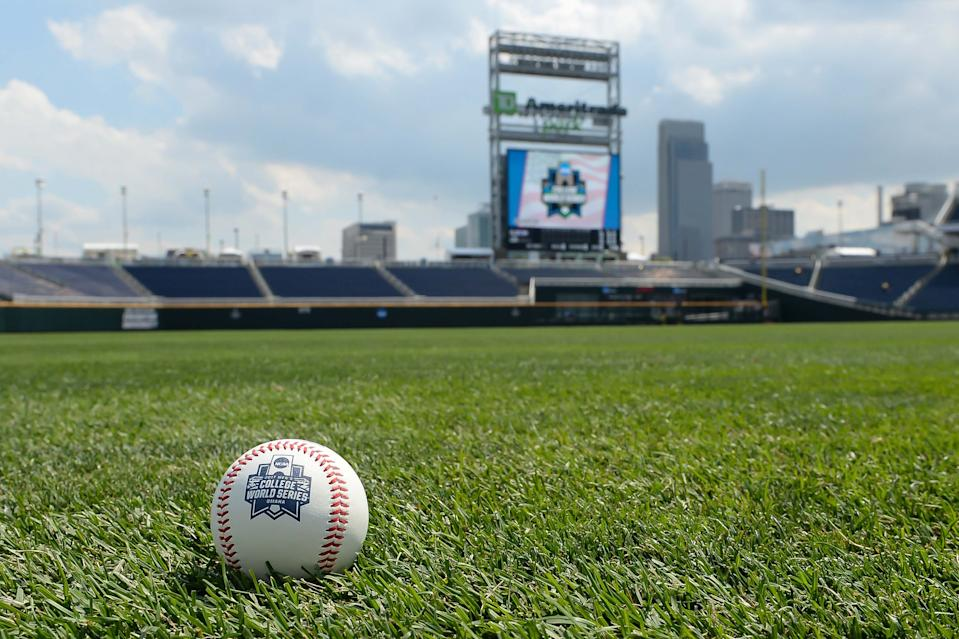 General view of a baseball and scoreboard before game one of the championship series between the Florida Gators and the LSU Tigers in the 2017 College World Series at TD Ameritrade Park Omaha. Mandatory Credit: Steven Branscombe-USA TODAY Sports