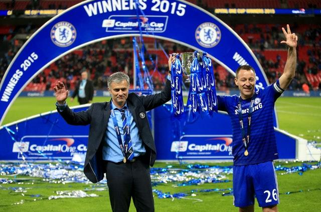 Terry, pictured alongside Jose Mourinho, claimed three League Cups with the Blues (Nick Potts/PA)