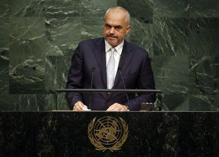 Albanian Prime Minister Edi Rama addresses the United Nations Sustainable Development Summit 2015 in New York