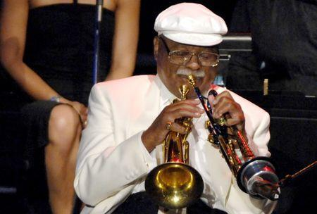 """Clark Terry performs at the Grammy Foundation's """"Starry Night"""" Gala under the stars honoring Quincy Jones with the Grammy Foundations Leadership Award in recognition of his work both musically and philanthropically at Strauss Stadium on the UCLA Campus on July 28, 2007 in Westwood, California."""
